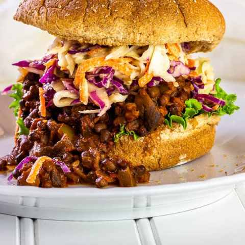 Vegan sloppy joes with tahini coleslaw wfpb 1