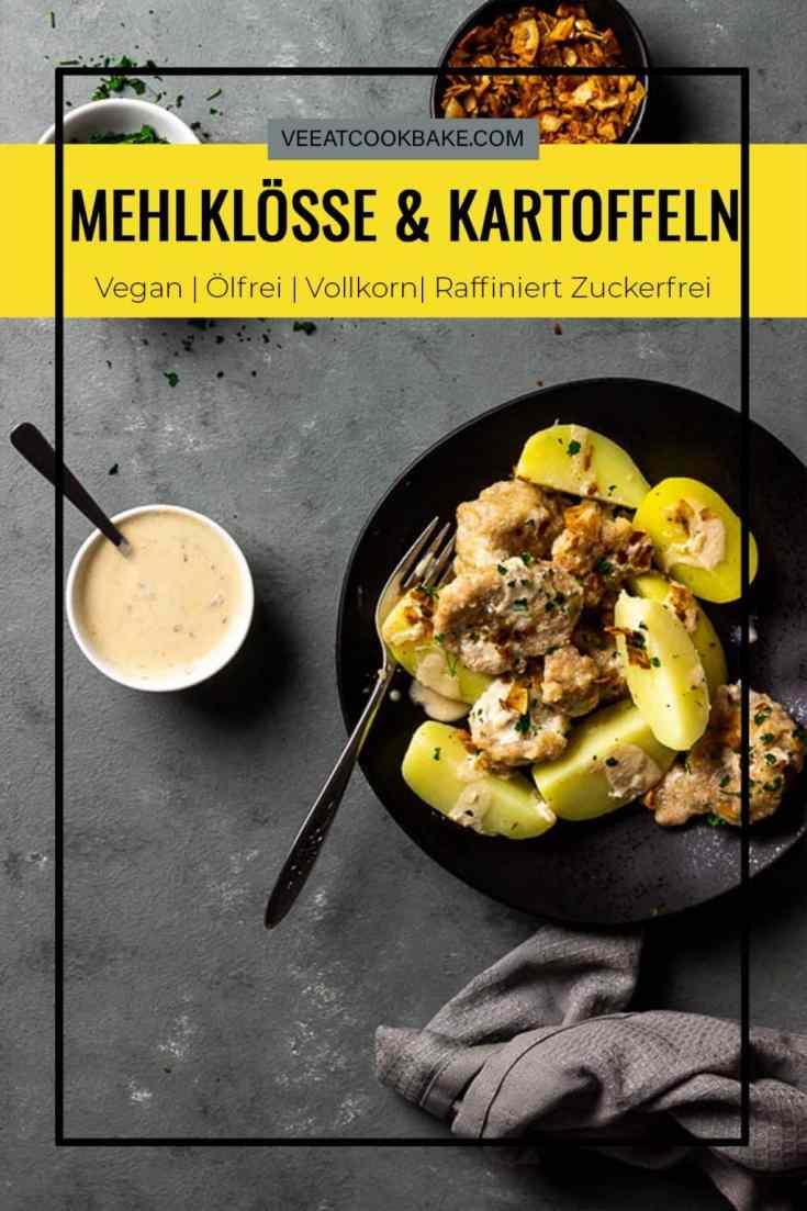 Geheiratete eine aus dem Saarland inspirierte Spezialität mit veganen Mehlklößen und Kartoffeln in einer Rahmsoße. Dieses einfache Rezept wird in Handumdrehen mit Zutaten aus deinem Vorratsschrank zubereitet und ist ein perfektes Abendessen für unter der Woche. vegan | milchfrei | lactosefrei | eifrei | vegetarisch | ölfrei | vollwertig| veeatcookbake.com