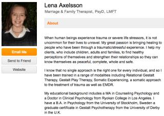 """Biografía profesional de Lena Axelsson en un sitio web de la industria para terapeutas """" width = """"640"""" style = """"width: 640px;"""" srcset = """"https://blog.hubspot.com/hs-fs/hubfs/therapist-bio-example.png?t=1525919548075&width=320&name=therapist-bio- example.png 320w, https://blog.hubspot.com/hs-fs/hubfs/therapist-bio-example.png?t=1525919548075&width=640&name=therapist-bio-example.png 640w, https: // blog. hubspot.com/hs-fs/hubfs/therapist-bio-example.png?t=1525919548075&width=960&name=therapist-bio-example.png 960w, https://blog.hubspot.com/hs-fs/hubfs/therapist -bio-example.png? t = 1525919548075 & width = 1280 & name = therapist-bio-example.png 1280w, https://blog.hubspot.com/hs-fs/hubfs/therapist-bio-example.png?t=1525919548075&width= 1600 & name = therapist-bio-example.png 1600w, https://blog.hubspot.com/hs-fs/hubfs/therapist-bio-exampl e.png? t = 1525919548075 & width = 1920 & name = therapist-bio-example.png 1920w """"sizes ="""" (max-width: 640px) 100vw, 640px"""