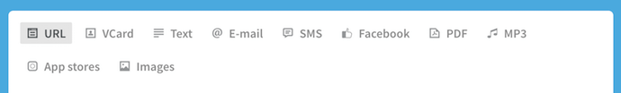 Iconos que detallan los tipos de contenido que un generador de códigos QR puede promocionar
