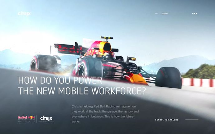Página de inicio de The New Mobile Workforce de Citrix, un sitio web galardonado