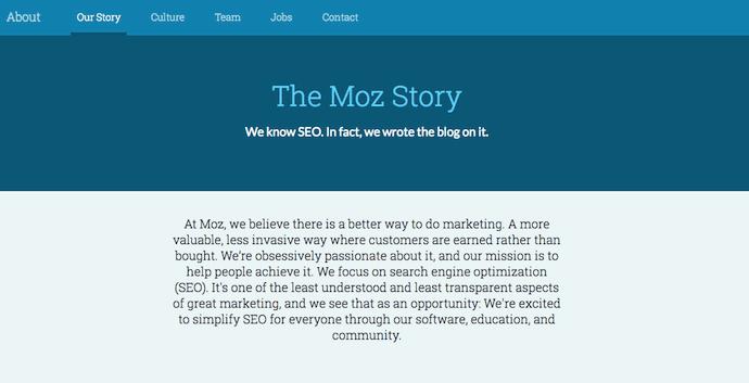 La historia de Moz en su página Acerca de nosotros