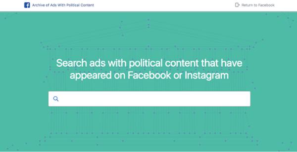 Archivo de Facebook de anuncios con contenido político