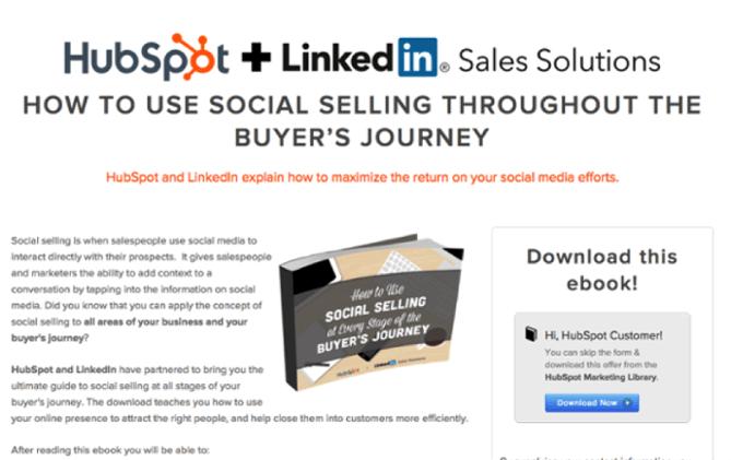 Oferta de comercialización conjunta sobre redes sociales y ventas de HubSpot y LinkedIn