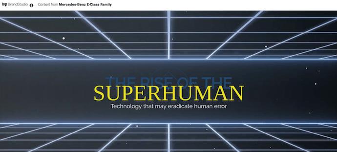 Ejemplo de publicidad nativa de Mercedes-Benz llamado The Rise of the Superhuman
