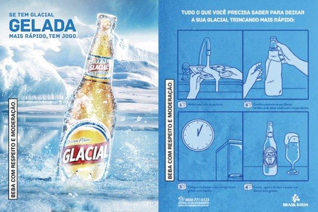 Anuncio publicitario interactivo de Glacial con instrucciones sobre cómo enfriar la cerveza