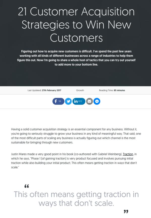 Pilar página sobre estrategias de adquisición de clientes por Matthew Barby