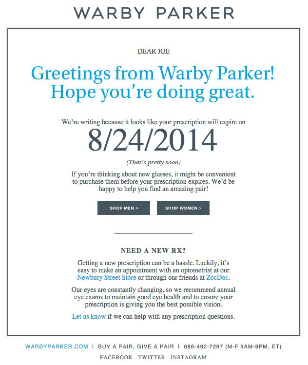 Campaña de marketing por correo electrónico sobre la renovación de productos de Warby Parker