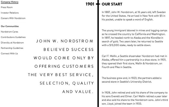 Historia, visión y misión de Nordstrom