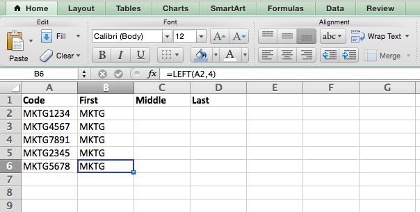 Fórmula IZQUIERDA en Excel