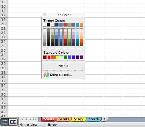 Personalice el color de sus pestañas en Excel
