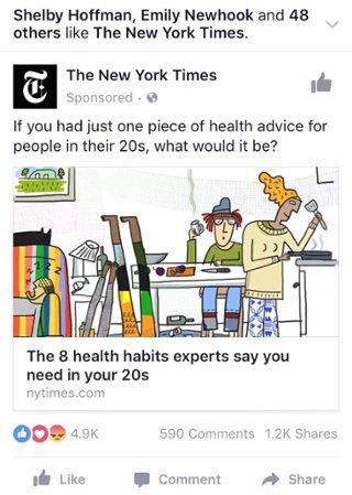 Anuncio de fotografía de Facebook del New York Times