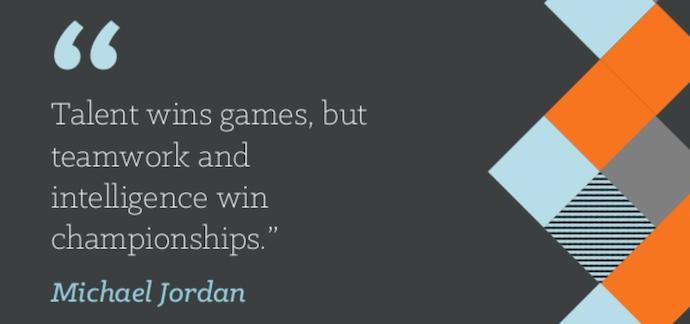 Cita de trabajo en equipo de Michael Jordan que dice