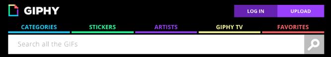 Banner y barra de búsqueda del sitio web Giphy