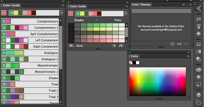 Opciones de color en la herramienta de guía de color de Illustrator