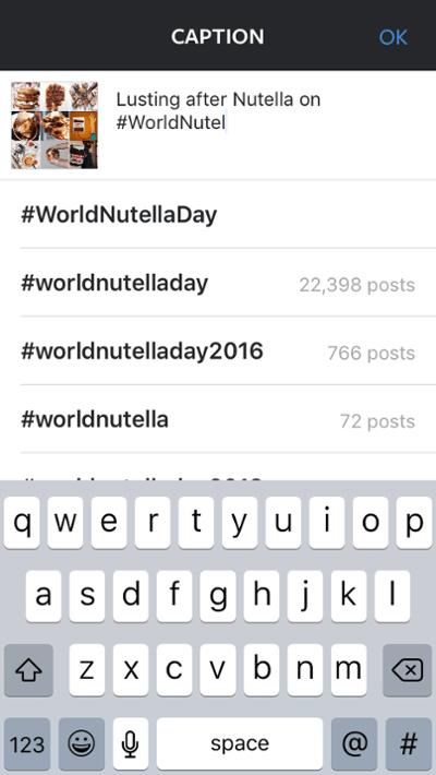"""El usuario de Nutella muestra cómo usar las sugerencias de hashtag de Instagram en un título """"title ="""" nutella-hashtag-sugerencias.png """"width ="""" 400 """"style ="""" width: 400px"""
