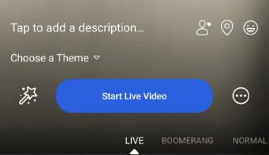 """Botón azul """"Iniciar Video en Vivo"""" en la aplicación móvil de Facebook"""