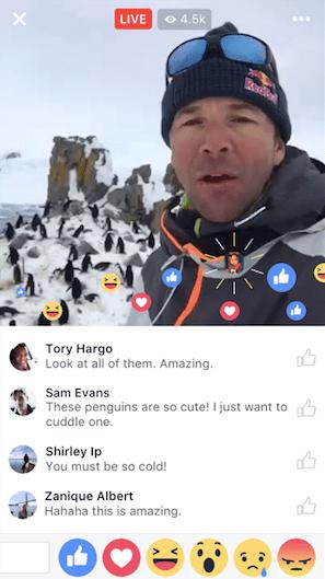 Comentarios y reacciones en Facebook Live