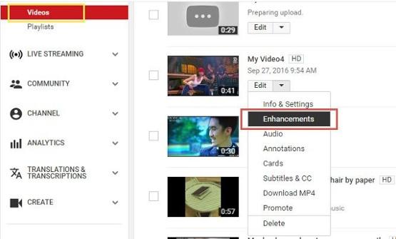 """Función de mejoras y efectos en YouTube. """"Width ="""" 555 """"title ="""" Función de mejoras y efectos en YouTube . """"style ="""" width: 555px """"> </p> <p style="""