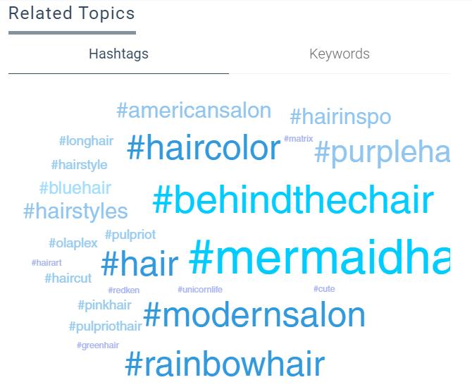 El hashtag cloud de Keyhole puede indicarle las etiquetas inteligentes relacionadas con sus publicaciones.