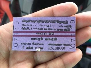 adorable train tickets. galle, sri lanka. october 2015.