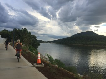 cycling along the river. chattanooga, tennessee. august 2016.