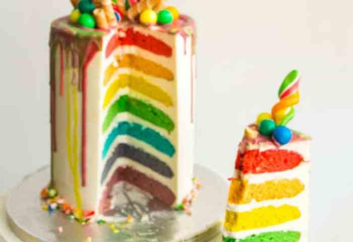Easy Rainbow Cake Recipe Seven Rainbow Layer Cake Veena Azmanov