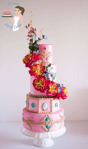 Pretty in Pink Peony Wedding Cake   Veena Azmanov Pretty in Pink Peony Wedding Cake