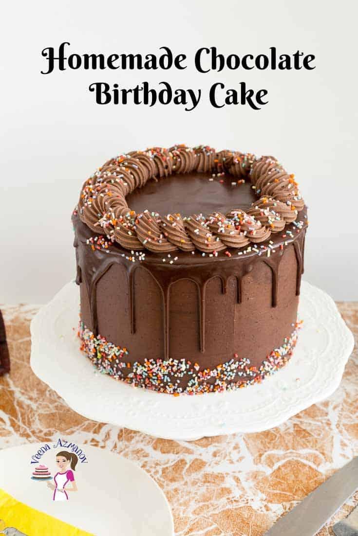 Homemade Chocolate Birthday Cake Recipe - Veena Azmanov