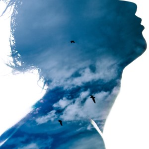 Woman's profile silhouetted with sky and birds