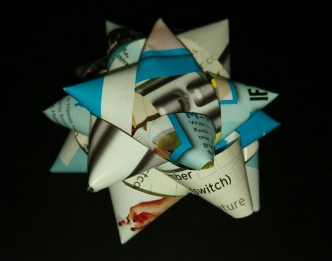 A present bow made from 1x A4 magazine page