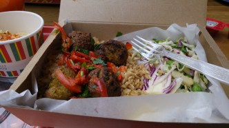 Falafels, wholegrain rice and salad