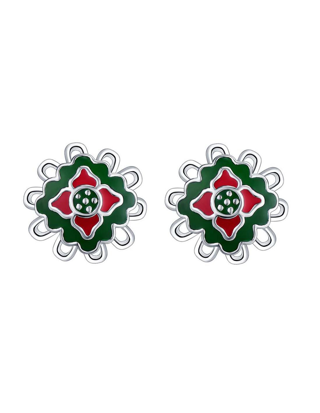 Cercei Placati Cu Argint Flori Cu Decor Verde Si Rosu Din