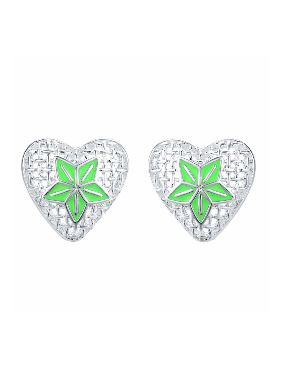 Cercei Placati Cu Argint Inimioare Cu Floare Din Email Verde