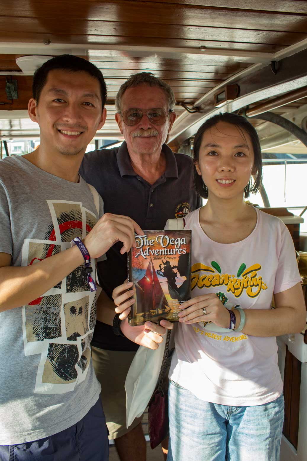 """Two more new friends with a copy of """"The Vega Adventures"""" signed and dedicated."""