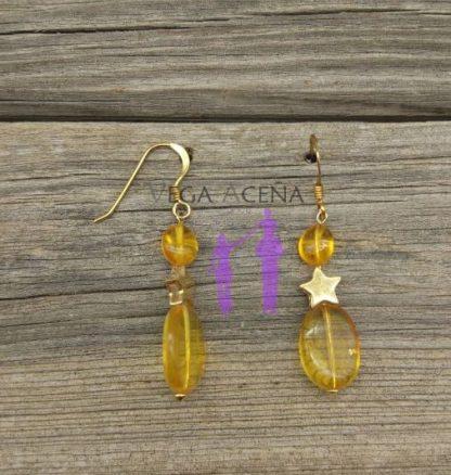 pendientes plata chapada en oro con estrella y ambar miel (2)