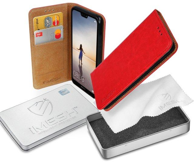 Imesh Leather Fall Decken Tasche Leder Huawei P Lite Rot