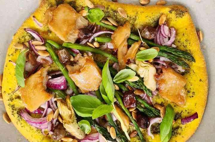 Vegan pompoen pizza