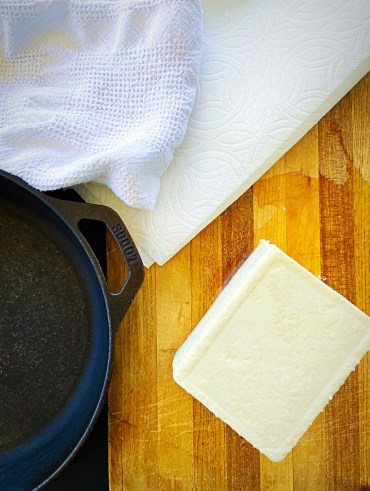How to Press Tofu Without A Tofu Press - Cast Iron pan and Tofu
