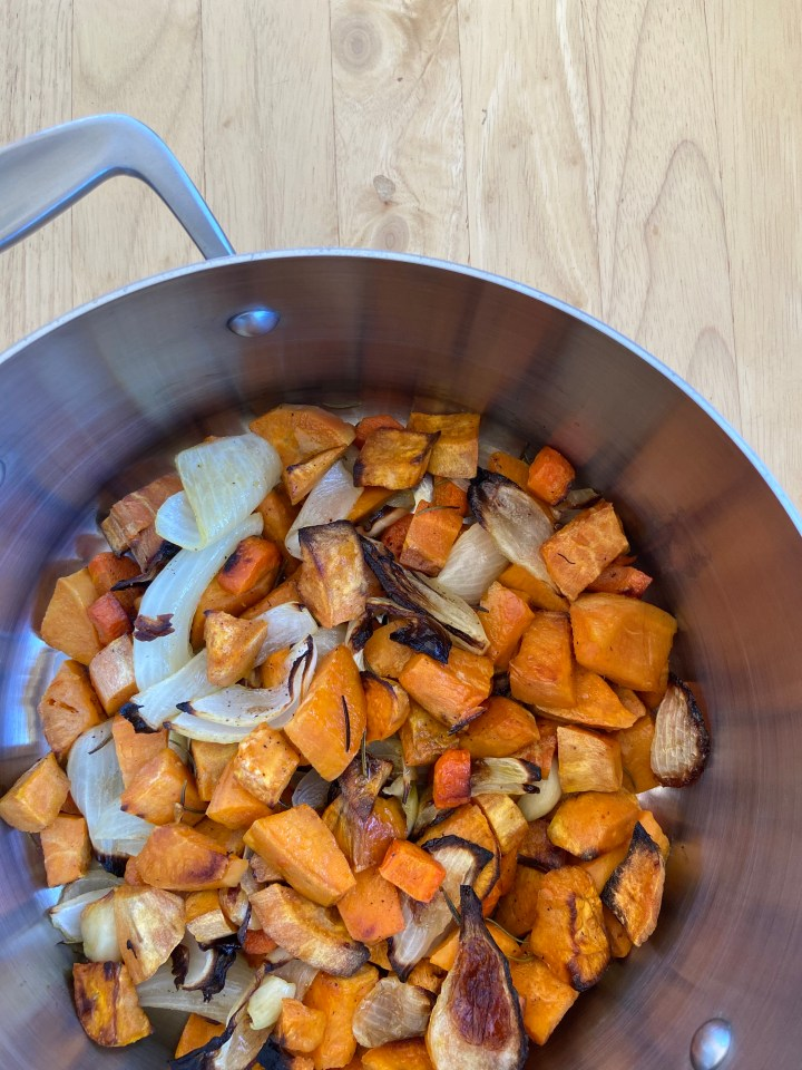 baked veggies for vegan sweet potato soup