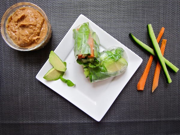 Healthy & Easy Vegan Spring Rolls with Ginger Almond Sauce (gluten + soy free) | veganchickpea.com