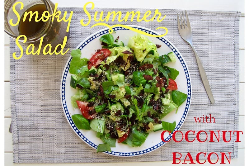 Smoky Summer Salad with Coconut Bacon - vegan, paleo, gluten/soy/nut free! | veganchickpea.com