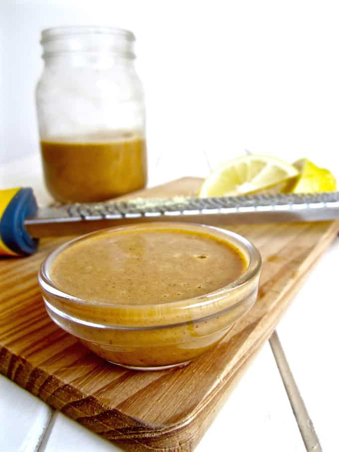 Best ever tahini garlic sauce or dressing - takes 10 minutes to make and is tasty on just about anything! {vegan, sugar free, gluten free, paleo, soy free, oil free, nut free}   veganchickpea.com