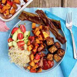 Smoky Tempeh & Roasted Sweet Potato Hash (Vegan + GF)