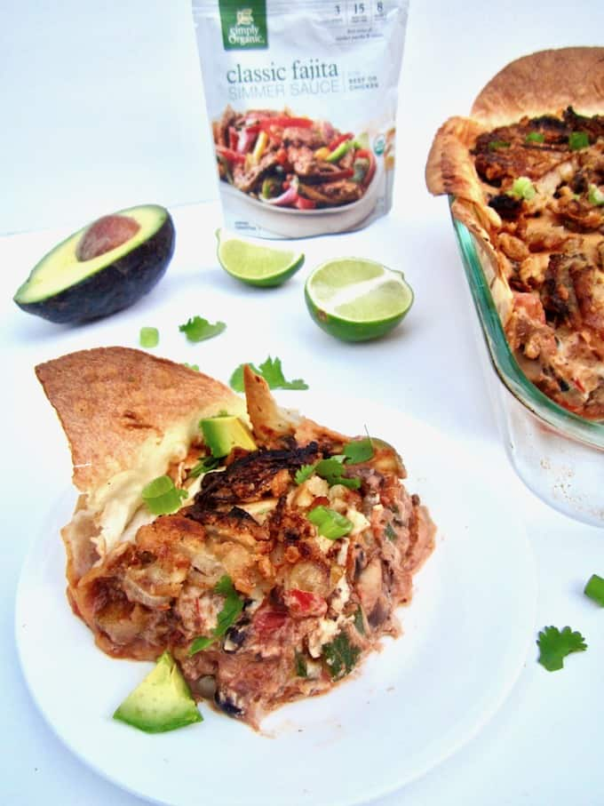 The Best Creamy Vegan Mexican Casserole (Gluten Free) recipe - hearty, healthy, family friendly and nourishing, this multi-layered casserole is comfort food at its best! [soy + sugar free] | veganchickpea.com