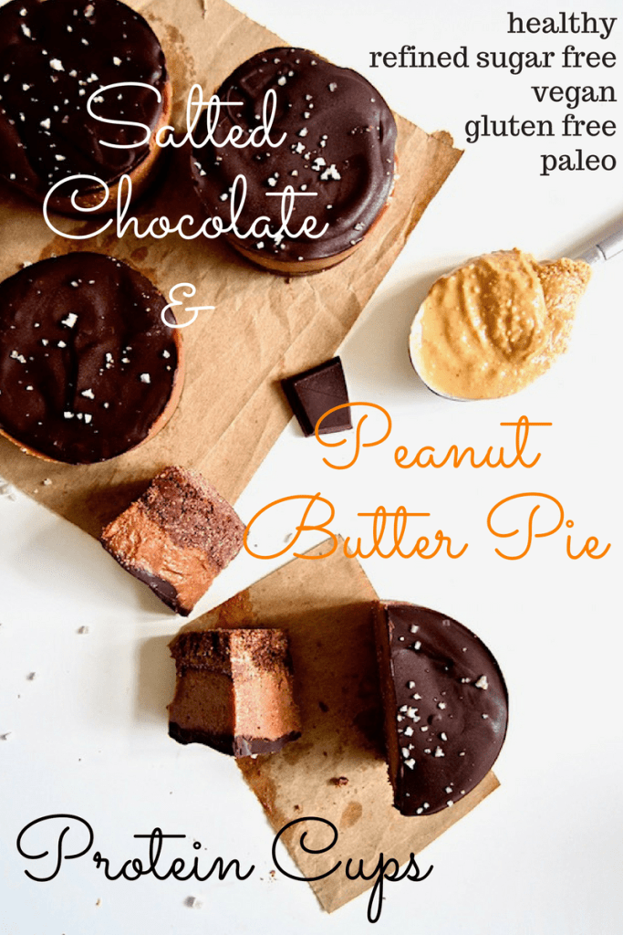 These deliciously addictive yet healthySalted Chocolate Peanut Butter Pie Protein Cups areperfectly balanced between sweet with salty - all without any refined sugars! - and pack a protein punch with about 11 grams per serving. This easy no bake recipe will be your go-to healthy dessert or snack! {Vegan, Gluten Free + Paleo}