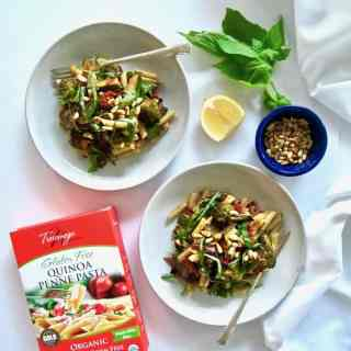 Easy Garlic + Balsamic Roasted Veggie Pasta (Gluten Free)