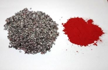 carmin ou pigment naturel rouge à lèvre rouge