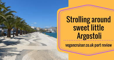 Argostoli Kefalonia port review vegan cruise