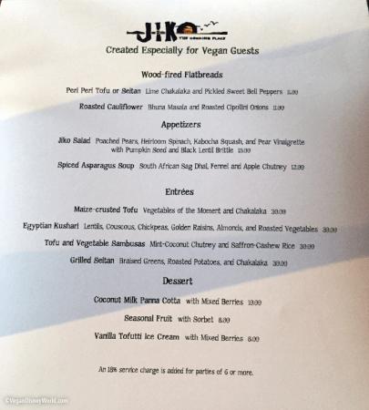 Jiko Vegan Menu May 2015